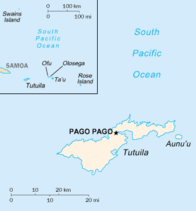 Map showing American Samoa islands in the South Pacific