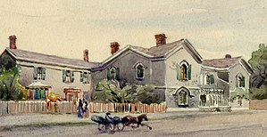 Berkeley House, York, Upper Canada - Later painting of Berkeley House, based on a pencil sketch made in 1831.