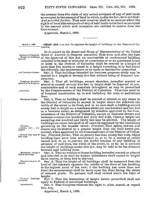 Height of Buildings Act of 1899 - The Height of Buildings Act of 1899 (National Archives and Records Administration)