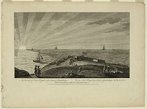 History of Guadeloupe - The British flag floats on Fort Royal (Vieux-Fort) during Seven Years' War. Picture drawn on the spot by Archibald Campbell, engraved by Peter Mazell, printed in London in 1768.