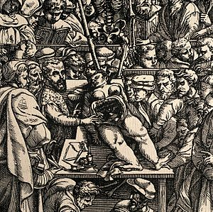 Cadaver - Anatomical dissection by Andreas Vesalius of a female