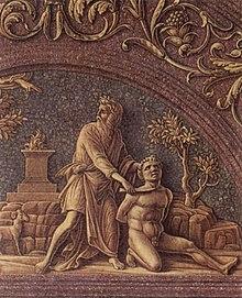 Andrea Mantegna, Sacrificio di Isacco, dettaglio del Trittico degli Uffizi (1460 circa)