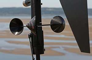 Wind - Cup-type anemometer with vertical axis, a sensor on a remote meteorological station