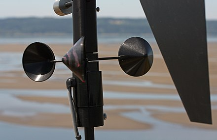 Cup-type anemometer with vertical axis, a sensor on a remote meteorological station Anemometer 2745.JPG