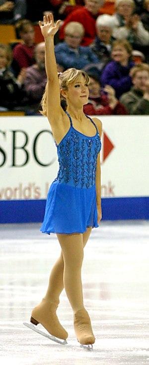 Angela Nikodinov - Nikodinov completes her short program at the 2004 Four Continents Championships in Hamilton, Ontario, Canada.