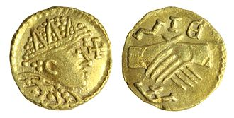 Thrymsa - An early medieval Anglo-Saxon gold thrymsa (or shilling) coin from circa 650-675 AD.