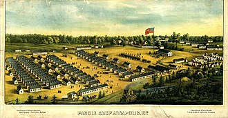 """Parole camp - The first Union Army """"parole camp"""" for exchanged Northern prisoners of war, was opened in Annapolis, Maryland in 1862."""