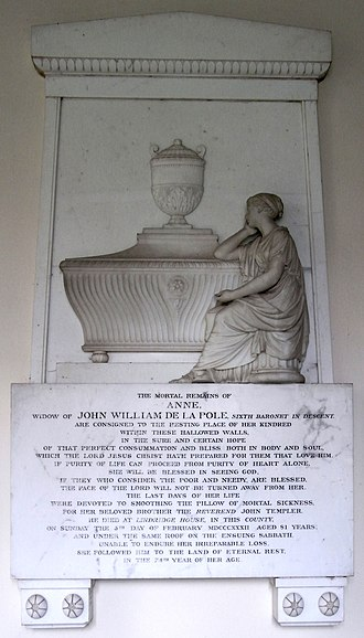 "Sir John de la Pole, 6th Baronet - 1832 mural monument to Lady Anne Pole (née Templer) (1758–1832), wife of Sir John de la Pole, 6th Baronet (1757–1799) signed: ""P. Rouw sculp. London"" (Peter Rouw (1771–1852)), west wall of south transept of St Michael's Church, Shute, Devon"