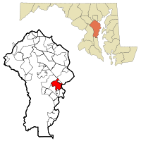 Anne Arundel County Maryland Incorporated and Unincorporated areas Annapolis Highlighted.svg