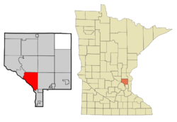 Location of the city of Coon Rapids within Anoka County, Minnesota