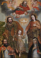 Anonymous Cusco School - Double Trinity with Saint Augustine and Saint Catherine of Siena - Google Art Project.jpg