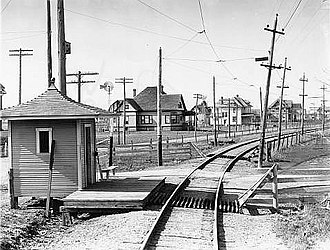 Antioch, Clinton County, Indiana - Rail line and platform in Antioch, 1909