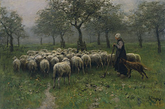 Shepherdess With a Flock of Sheep by Anton Mauve (1838-1888), of the Hague School. Anton Mauve - Herderin met kudde schapen.jpg