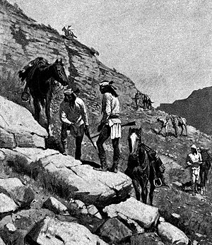 Apache Campaign (1896) - Apache scouts following Massai's trail, by Frederic Remington, 1898.