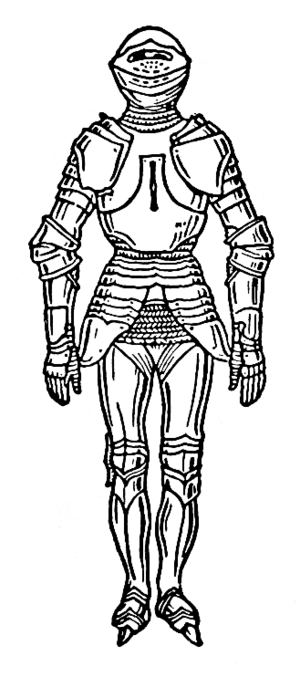 line art drawing of armor.