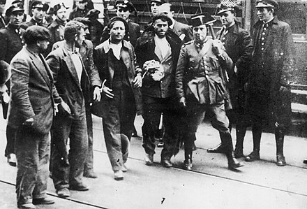 Arrested workers during the Asturian miners' strike of 1934. Arrested workers during the Asturian Revolution, 1934.jpg