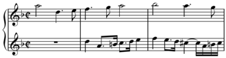 Diminution - Contrapuntus VII from Bach's Art of Fugue. Observe the lower voice of the canon in halved (i.e. diminished) note values.