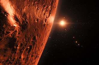 TRAPPIST-1 - Image: Artist's impression of the TRAPPIST 1 planetary system Hubble