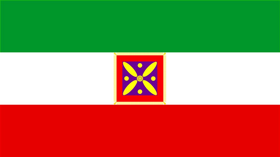 Artistic combination of Derafsh Kaviani symbol on the modern flag of iran