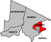 Map of Arusha Region's Districts with Arumeru highlighted.