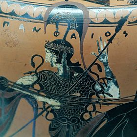 Athena wearing the aegis Attic black-figured hydria by the potter Panphaios (signed) and the Euphiletos Painter c. 540 BC. Found in Tuscania now in the ... & Black-figure pottery - Wikipedia