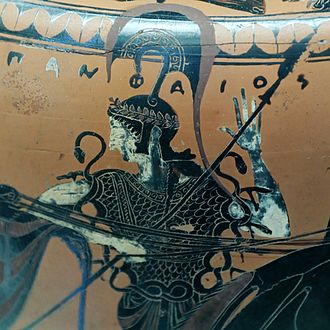 Black-figure pottery - Athena wearing the aegis, Attic black-figured hydria by the potter Pamphaios (signed) and the Euphiletos Painter, c. 540 BC. Found in Tuscania, now in the Cabinet des Médailles, BNF, Paris