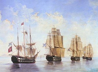 Russian Fleet after the Battle of Athos by Alexey Bogolyubov)