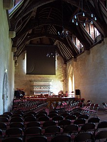 large hall with hammerbeam roof