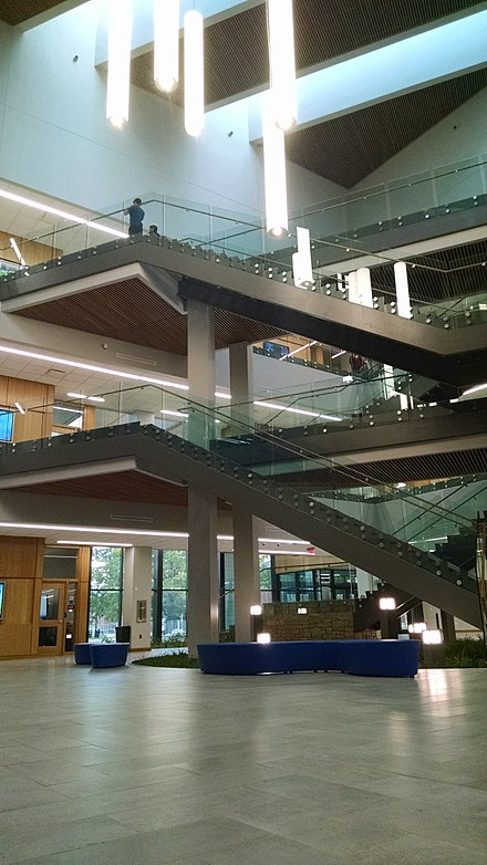 Interior of new science building Atrium of Don and Cathy Jacobs Science Building.jpg