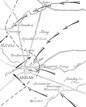 Battle of Arras (1914) - Image: Attacks on Arras, October 1914
