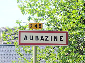 Aubazine - Sign clearly displaying the correct spelling of the village name.