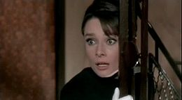 Hepburn in a scene from the comic thriller Charade (1963).