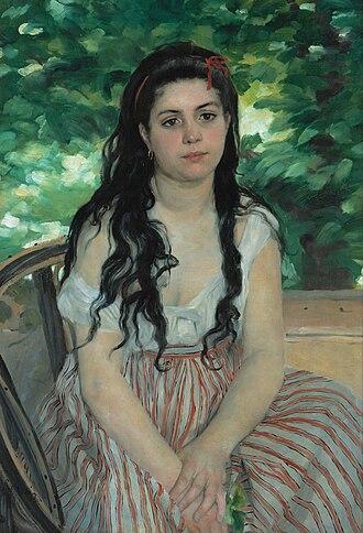 In Summer (Renoir) - Pierre-Auguste Renoir, In Summer, 1868. Oil on canvas; 85 × 59 cm. Alte Nationalgalerie, Berlin