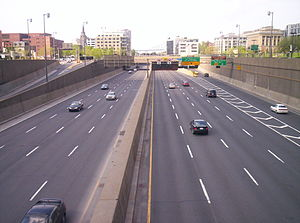 Quebec Autoroute 720 - The Ville-Marie Expressway near Old Montreal