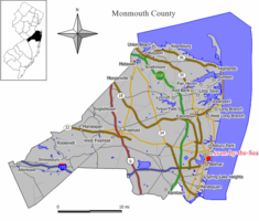 Map of Avon-by-the-Sea in Monmouth County. Inset: Location of Monmouth County highlighted in the State of New Jersey.