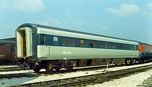 British Rail Class 252 - One of the first Mk3 coaches No:E12000 to be delivered to RTC, Derby in the summer of 1972