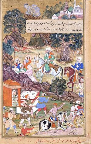 Abdul Rahim Khan-I-Khana - Bairam Khan's widow and child (Rahim) being escorted to Ahmedabad, in 1561, after his assassination, Akbarnama