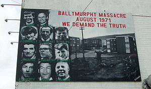 Operation Demetrius - A mural commemorating those killed in the Ballymurphy Massacre during Operation Demetrius