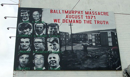 A memorial to those killed by British soldiers during the Ballymurphy Massacre. BallymurphyMassacre.jpg