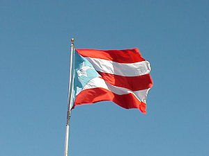 English: Puerto Rican flag waving in the wind....