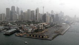 The Hungry Mile - Barangaroo in the foreground, before shipping buildings were demolished