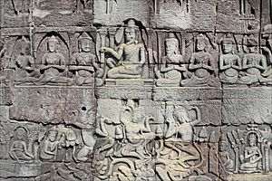 Angkor Thom - Bas-relief at Bayon.