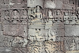 Angkor Thom - Bas-relief at Bayon.