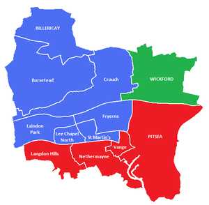 Borough of Basildon - Constituencies within the Basildon district.  Blue: Billericay and Basildon  Red: Basildon South and Thurrock East  Green: Rayleigh and Wickford