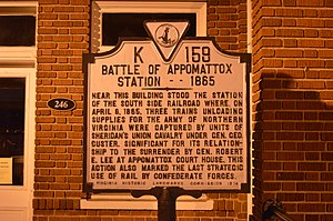 Battle of Appomattox Station - Historical marker in Appomattox commemorating the battle