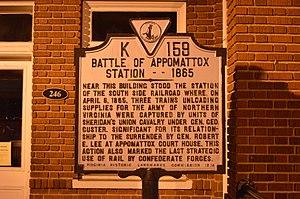 Battle of Appomattox Station - Historical marker in Appomattox commemorating the battle