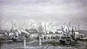 Henry Keppel - The advance of the British boats under Keppel's command during the Battle of Fatshan Creek by Oswald Walters Brierly