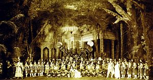 Ludwig Minkus - Cast of act II of Marius Petipa's final revival of Minkus's La Bayadère, with Orest Allegri's celebrated décor. In the center is Mathilde Kschessinskaya as Nikiya (right) kneeling with Vera Trefilova (left) who performed the Danse manu. Standing toward the right is Pavel Gerdt as Solor with Olga Preobrajenskaya as Gamzatti. St. Petersburg, 1900