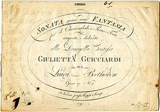 Piano Sonata No. 14 (Beethoven) - Title page of the first edition of the score, published on August 2 in 1802 in Vienna by Giovanni Cappi e Comp