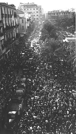 Beirut's Martyrs' Square during celebrations marking the release by the French of Lebanon's government from Rashayya prison on November 22, 1943, the day of Lebanon's independence. Adib Ibrahim